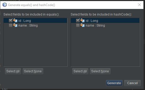 Método equals y hashcode